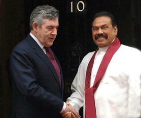 Gordon Brown and Mahinda Rajapaksa
